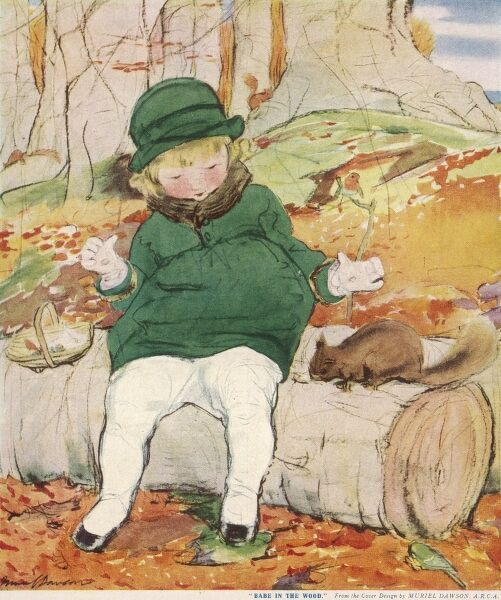 A little girl in a matching green coat and hat sits on a log in a woodland glade feeding a friendly squirrel while a robin nearby looks