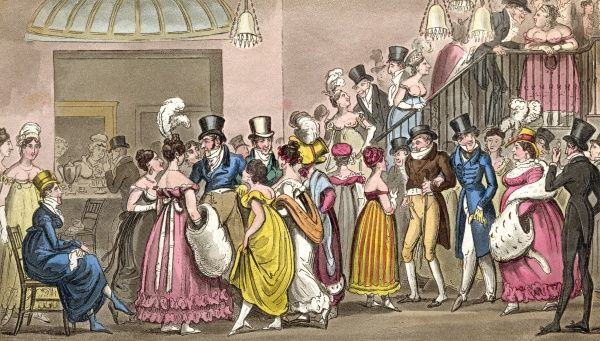 Fashionable visitors in the salon at Covent Garden Theatre, London Date: 1820