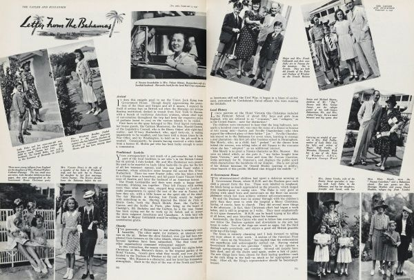 A double-page-spread entitled 'Letters from the Bahamas' showing various families who have sought refuge in the Bahamas whilst the war rages back in England