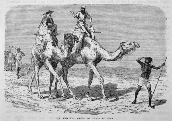 Samuel and Lady Baker riding camels in central Africa
