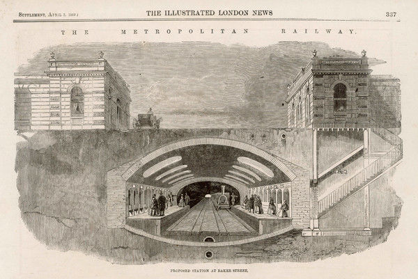 A cross section of the proposed Baker Street station, on the new Metropolitan underground railway, London