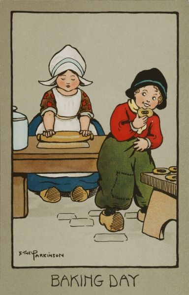 Baking Day, by Ethel Parkinson. A little Dutch girl kneads some dough, while a little boy tastes some freshly baked pastry
