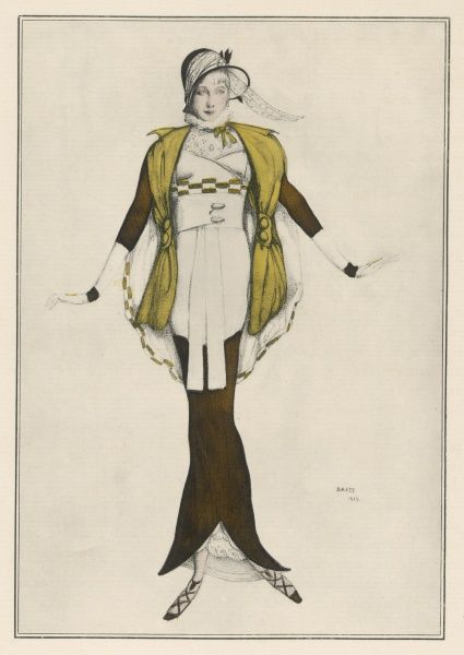 Hobble skirt costume designed & drawn by Bakst & made by Paquin. The skirt is cut-away at the front creating a split to enable the wearer to walk. N.B incongruous ruff