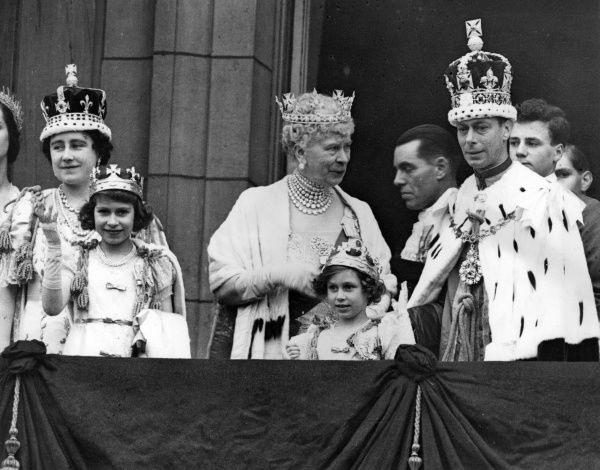 Scene on the balcony of Buckingham Palace, London, after the Coronation of King George VI, 12 May 1937. Showing, from left to right, Queen Elizabeth (later the Queen Mother), Princess Elizabeth (later Queen Elizabeth II), Queen Mary, Princess Margaret