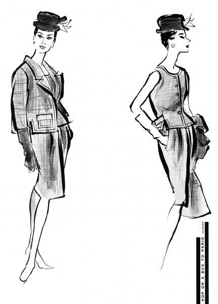 A coat, jacket and skirt by Balenciaga displaying the cllllean tailoring and functional lines of his designs from this period. The jacket on the right is sleeveless and collarless with a concave front and a half-belted bloused back, double seaming