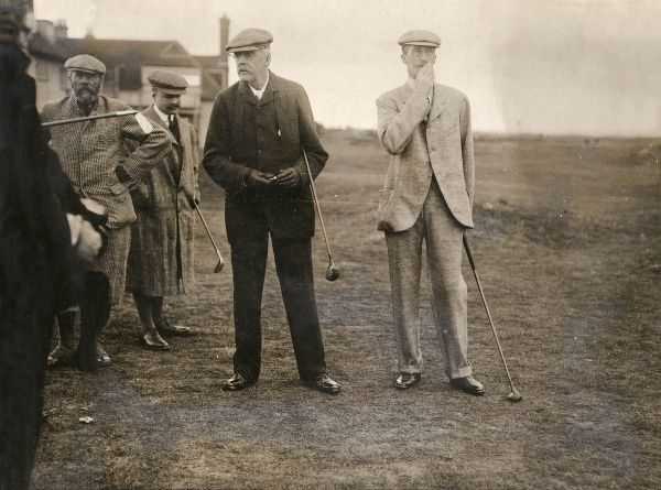 Arthur James Balfour, Conservative MP and former Prime Minister (left), and the Earl of Chesterfield (right) photographed during a golf match at Sandwich, Kent