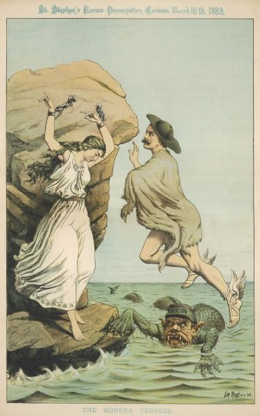 Balfour depicted as the modern Perseus rescuing the distressed Erin (as Andromeda) as she perishes on the rocks