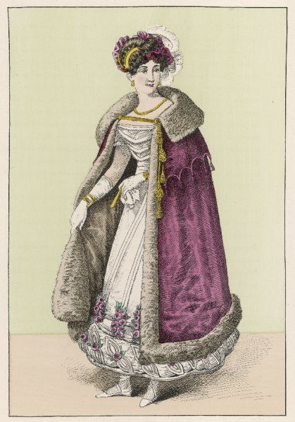 French lady wears a white robe the hem of which is ornamented with bouillon, rouleaux, leaf shaped applied trim & bunches of red roses. Her red cloak is lined with fur