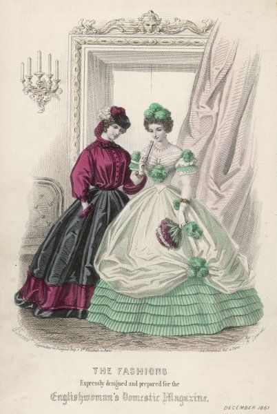 Green dress: fluted flounces, white tulle over-skirt looped up with plumes, corsage en coeur. Garibaldi shirt, black skirt with a red velvet band at the hem & on the pockets
