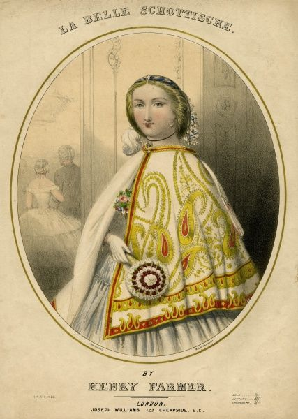 A young lady arrives at the ball wearing a beautiful, white, short cloak or cape ornamented in gold & red with a paisley pattern. Date: circa 1860