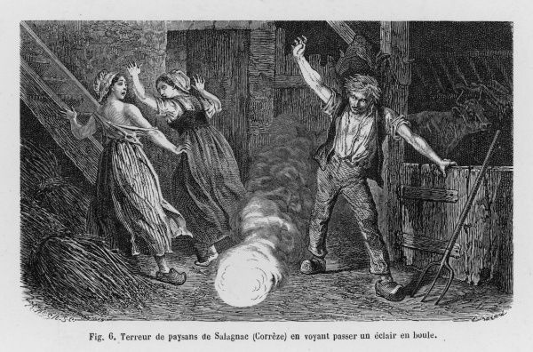 inside a farmhouse at Salagnac, Correze (France) a 'boule' alarms two girls but the only victim is a pig in the adjoining stable Date: 10 September 1845