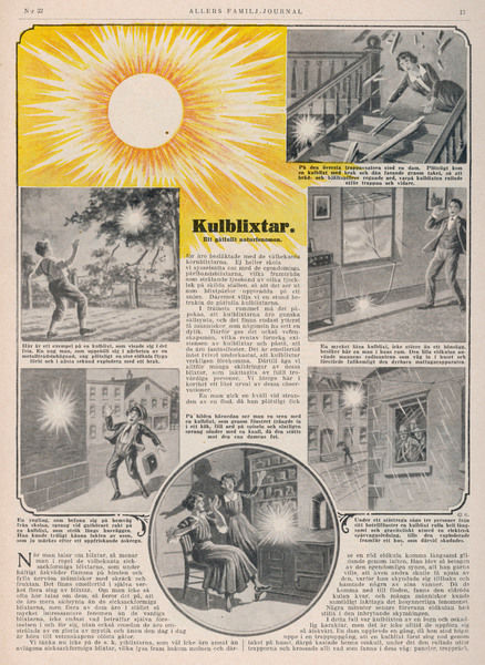 Examples of ball lightning indoors and outdoors, reported by a Swedish magazine