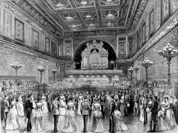 Engraving showing the Ball Room of Buckingham Palace, London, with a ball underway, 1887. All of the participants are shown wearing formal dress, many of the men wearing military uniform