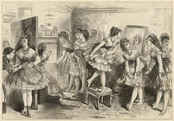 Ballet dancers in their dressing room, backstage at a theatre