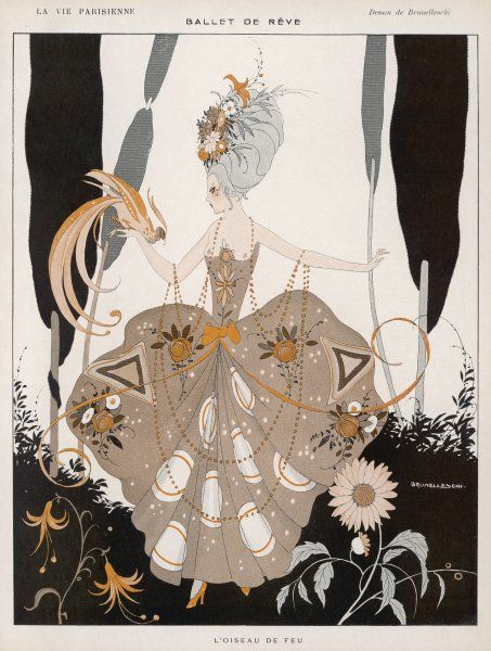 An elaborately dressed woman with a firebird on her hand: a design influenced by the recent Diaghilev ballet, with music by Stravinsky
