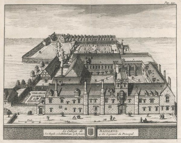 A bird's-eye view of the college showing the chapel, dining hall, library, formal gardens and the Dean's lodgings. One of 39 engravings made of Oxford Colleges by Loggan