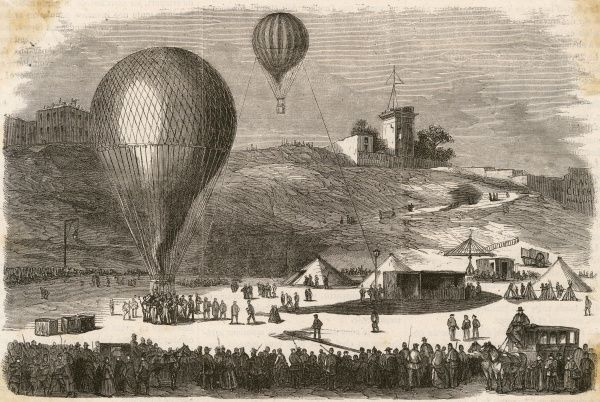 A 'Ballon-Poste' loaded with mail leaves the place Saint- Pierre, Montmartre Date: January 1871