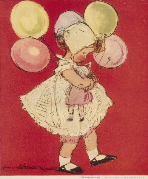 A little girl in a frilly dress and bonnet marches along with a doll under warm and a bunch of balloons in her other hand