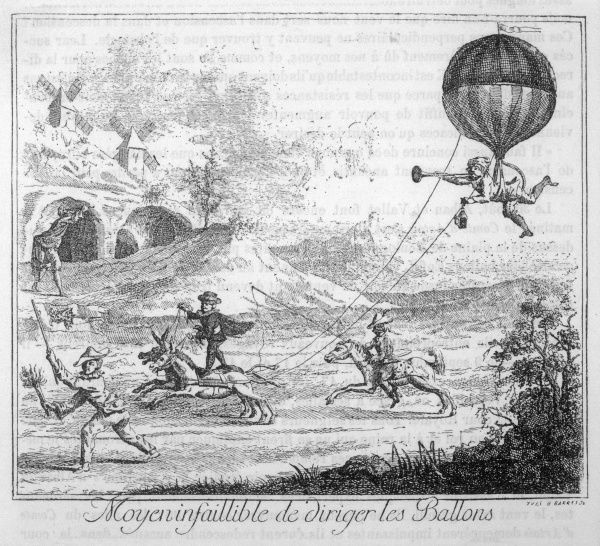 French satire on ballooning using horses to steer wayward balloon