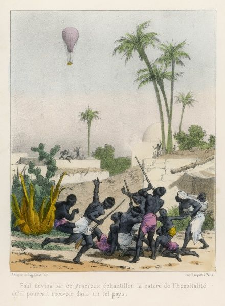 A Balloonist (Paul) causes African villagers to cower in fright as he sails above their homes