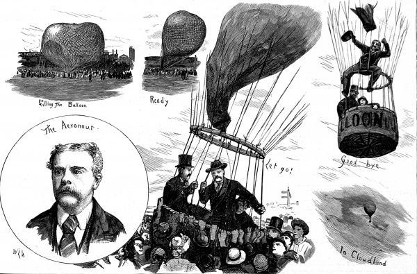 Engraving showing several views of the Balloon Society's Garden Party at Lillie Bridge, London, in 1881