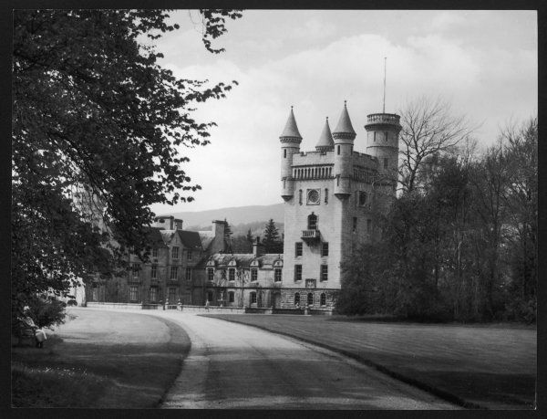 A view of Balmoral from the driveway. Built in 1854 for Queen Victoria and Prince Albert. The clock tower is 100 ft tall