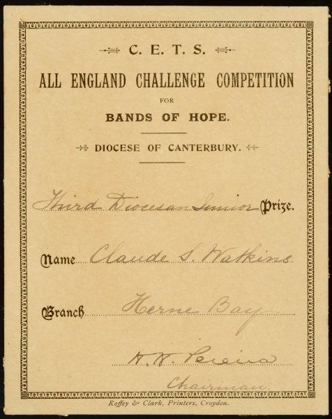 C.E.T.S Church of England Temperance Society ? All England Challenge Competition for Band of Hope, Diocese of Canterbury, Herne Bay Branch. Claude Watkins wins a prize