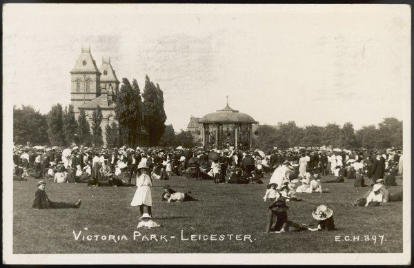 Round the bandstand in Victoria Park, Leicester