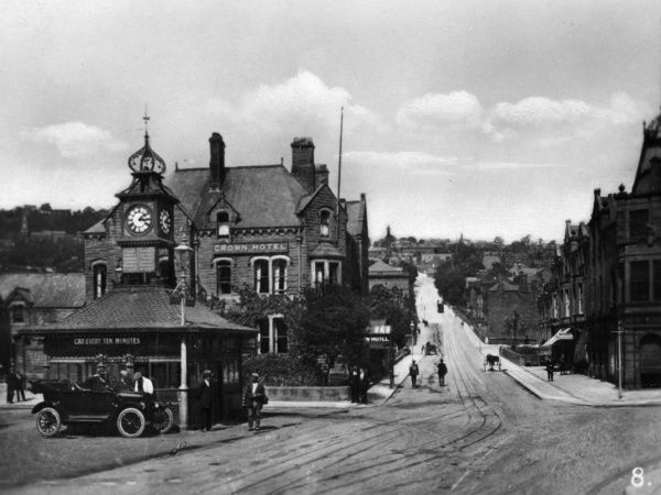 View of the Bank and the Crown Hotel in Matlock town centre, Derbyshire. Date: circa 1920