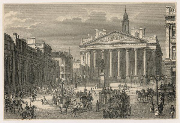 A busy street scene outside the Bank of England and the Royal Exchange