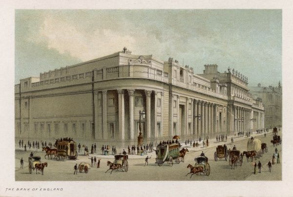 A view of the Bank of England from the corner of Threadneedle Street and Cornhill. People and carriages mill about in the foreground