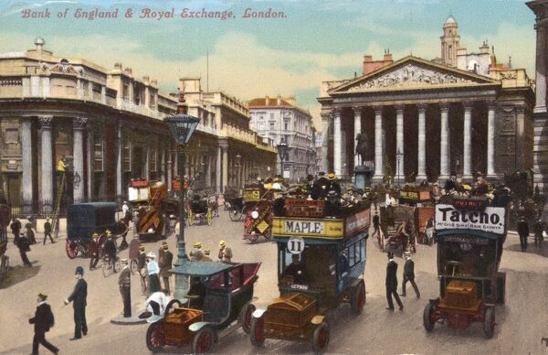 Traffic outside the Bank of England and the Royal Exchange, London c. 1908