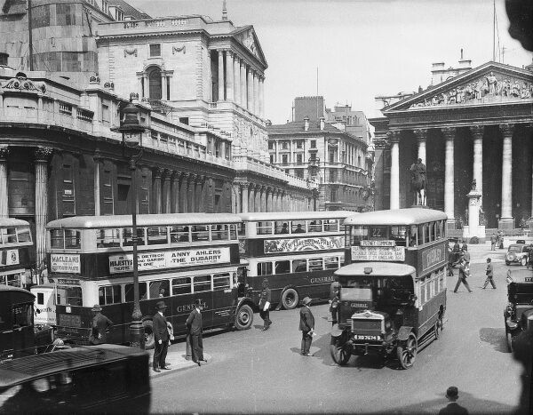 Buses outside the Bank of England and Royal Exchange, central London