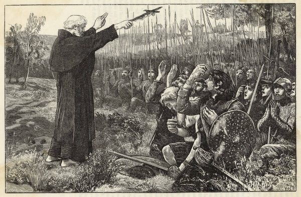 Before the battle, the Abbot of Inchaffray blesses the Scottish troops, who proceed to defeat Edward II's army