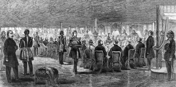 Engraving showing a banquet on board the Viceroy of Egypt's yacht, 'Faid Gihaad', then in the River Thames off Woolwich, London, July 1862. This image shows the after deck of the yacht, transformed into a room by the use of sun-awning