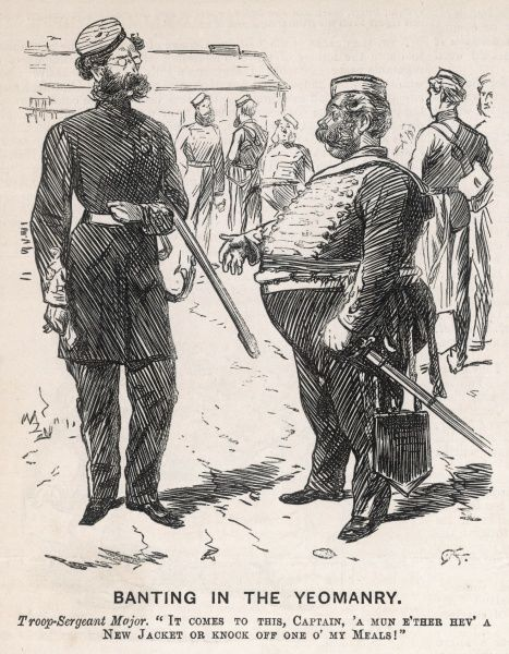 Banting in the Yeomanry. A rotund Troop-Sergeant Major complains to a captain about being too fat for his jacket