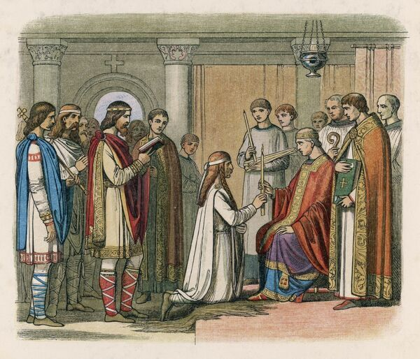 The Dane Guthorm receives baptism as a condition of the peace treaty that followed his defeat by king Alfred at the Battle of Eddington