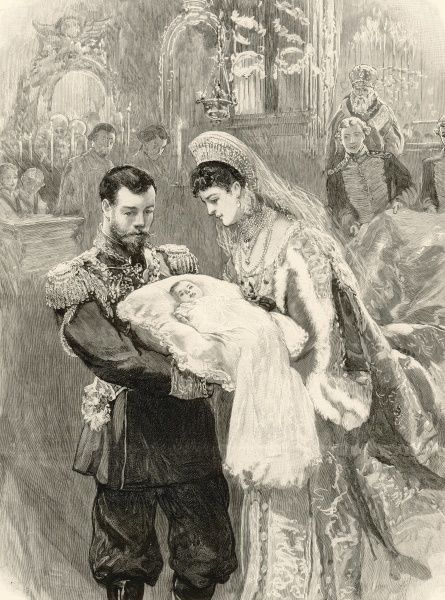 The Grand Duchess Olga Nikolaevna, the infant daughter of the Tsar, baptised at Tsarkoe Selo, showing the administration of the sacrament to the infant