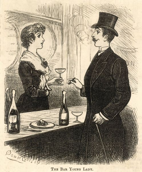 A dapper fellow savours champagne and a cigar whilst in conversation with a comely 'bar lady', or barmaid