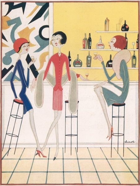 Stylised colour illustration by Chicot showing three flapper girls sitting at a cocktail bar