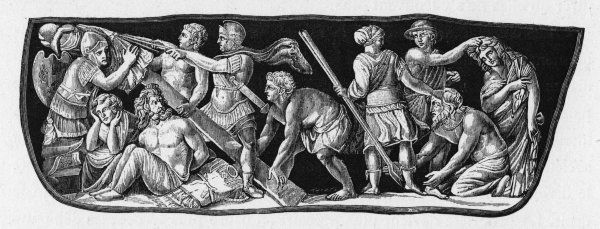 Defeated barbarians : the men are in chains, their womenfolk dragged by the hair