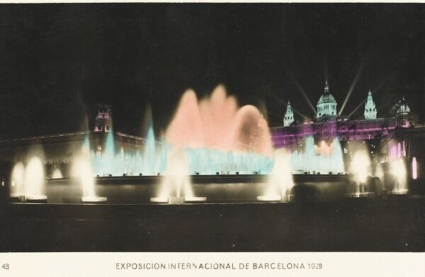 The Great Fountain by night. Barcelona, Spain - International Exhibition of 1929 - 1930