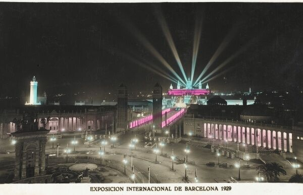 Barcelona, Spain - International Exhibition of 1929 - 1930. In a large park on the Montjuic hill, following a previous exhibition in 1888 which had not aroused much excitement, the second World Exhibition in Barcelona took place in 1929. Spanish works of art