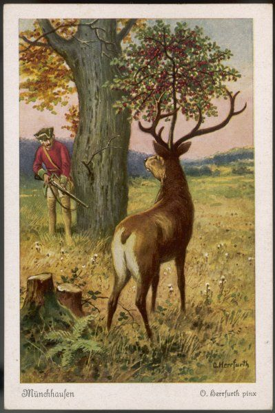 He encounters a stag with a cherry tree growing from a cherry stone implanted in its head
