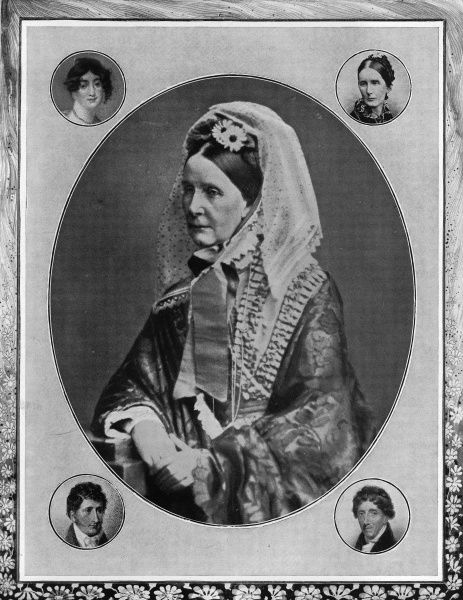 Photographic portrait of Baroness Angela Georgina Burdett-Coutts (1814-1906), the English philanthropist, pictured c.1870. The Baroness is surrounded by (clockwise from top right) another portrait of the Baroness, in 1862; portrait of Thomas Coutts