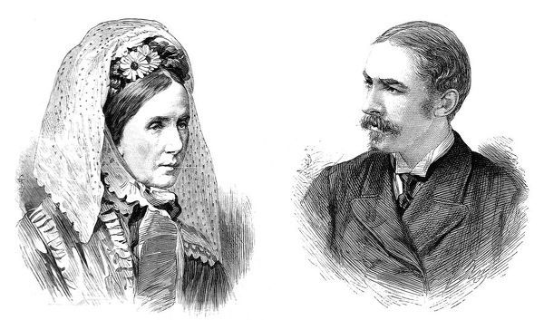 Engraving showing Baroness Angela Georgina Burdett-Coutts (1814-1906) and William Ashmead Burdett-Coutts Bartlett (1851-1921) who were married in Christ Church, Piccadilly, London, 1881
