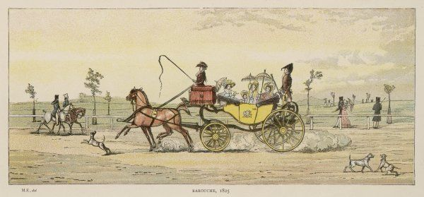 The barouche has four wheels, and a half-head which can be lowered ; it has space for two couples to sit facing each other