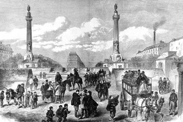 Panoramic scene of Paris and the barricades at Trone, with soldiers patrolling and citizens going about their business