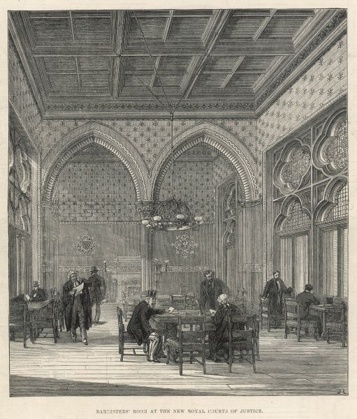 Interior of the Barristers' Room at the Royal Courts of Justice, London, in 1883