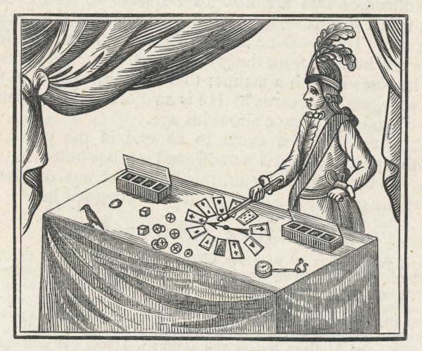 Mr Lane, a conjuror, performs magic tricks with cards and counters at Bartholomew Fair Date: 17th century